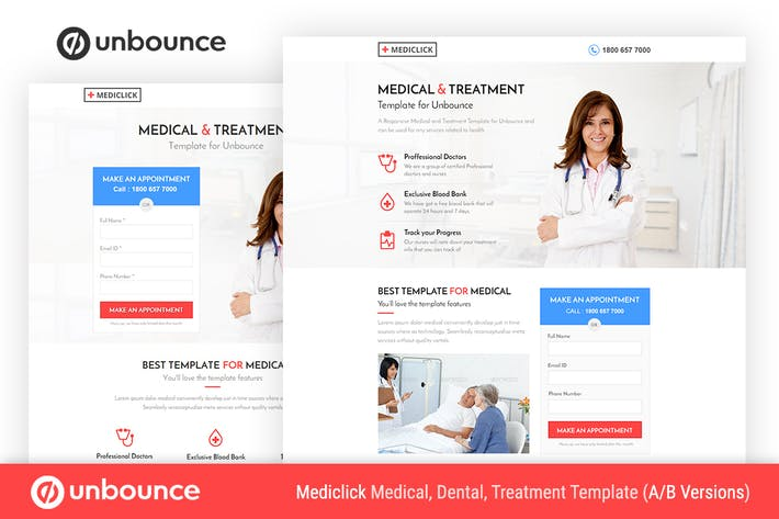 Thumbnail for Unbounce Шаблон медицинской целевой страницы - Mediclick