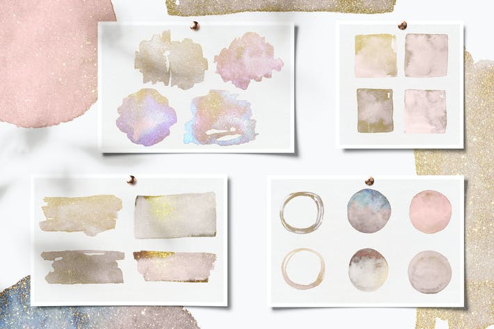 Thumbnail for Glittery Gold Watercolor Shapes, Abstract Clip Art