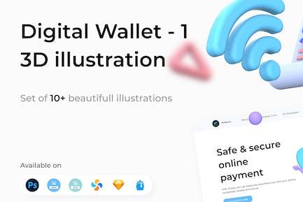 Digital Wallet 3D Illustrations Part 1