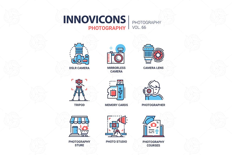 Download Photography - line design icons set by BoykoPictures
