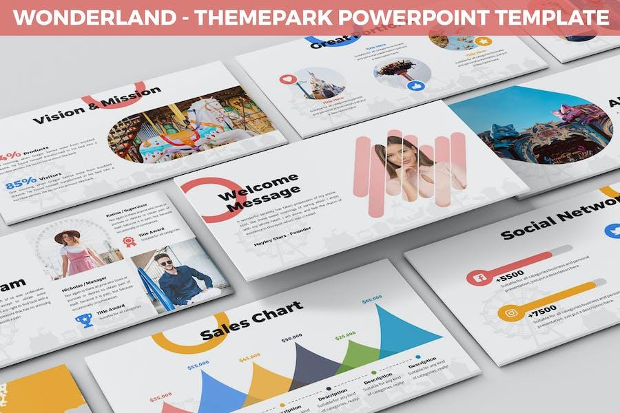Страна чудес - Шаблон Тема парка Powerpoint
