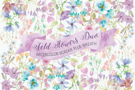 Field Flowers: Watercolor Border and Wreath