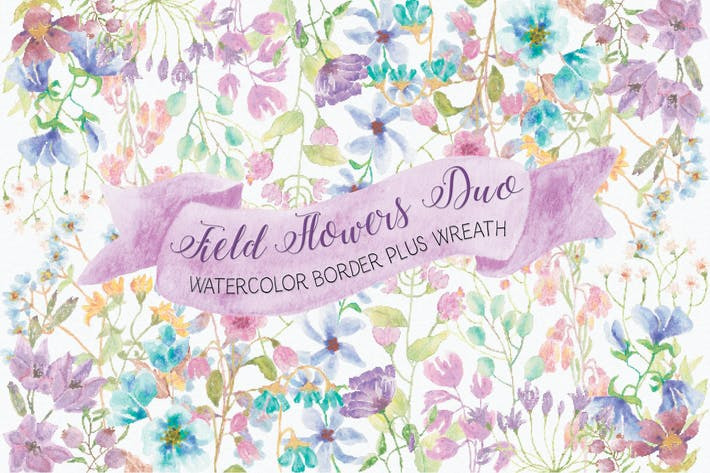 Thumbnail for Field Flowers: Watercolor Border and Wreath