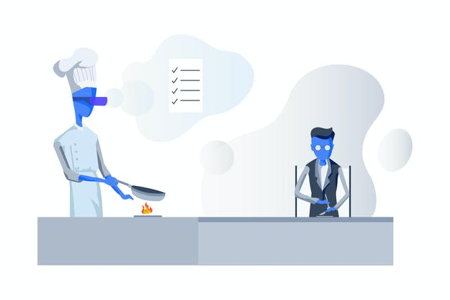 VR Tech support Restaurant Stove Illustration