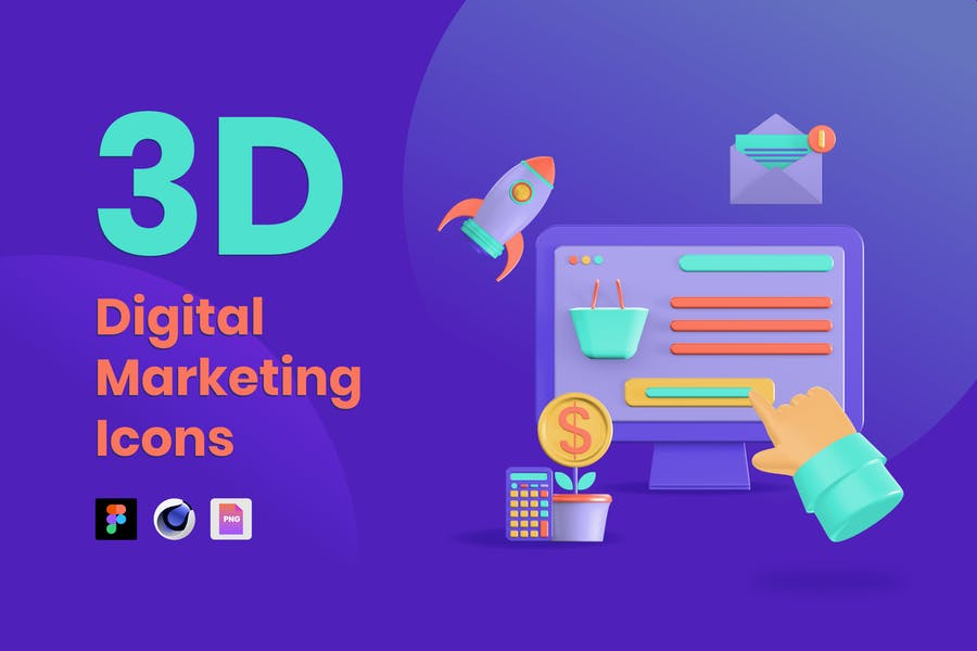 50 3D Digital Marketing Icons