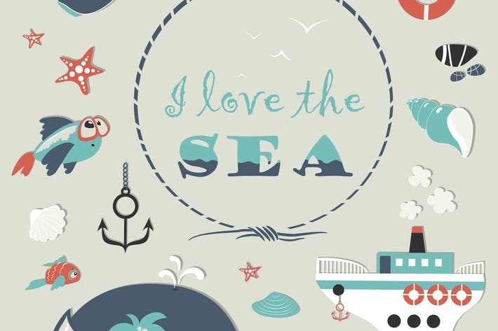 Thumbnail for Cute sea object icons collection. Vector