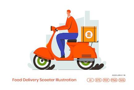 Food Delivery Scooter Illustration