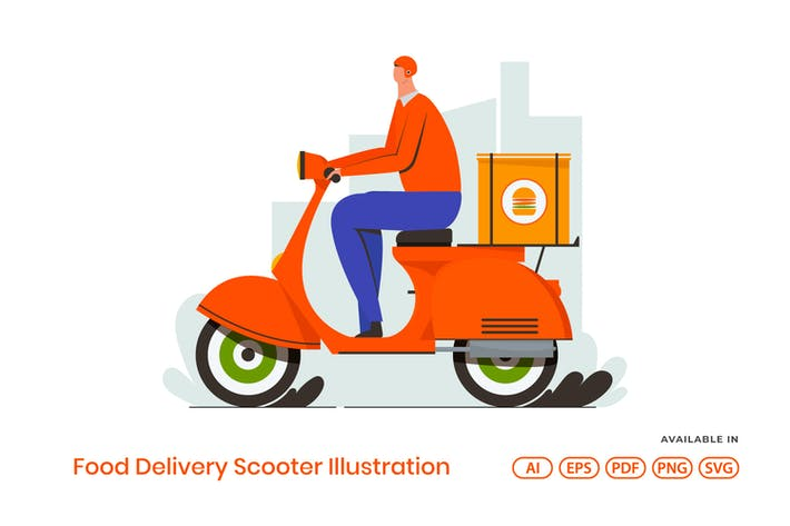 Thumbnail for Food Delivery Scooter Illustration