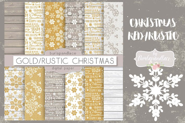 Thumbnail for Christmas gold rustic digital paper pack