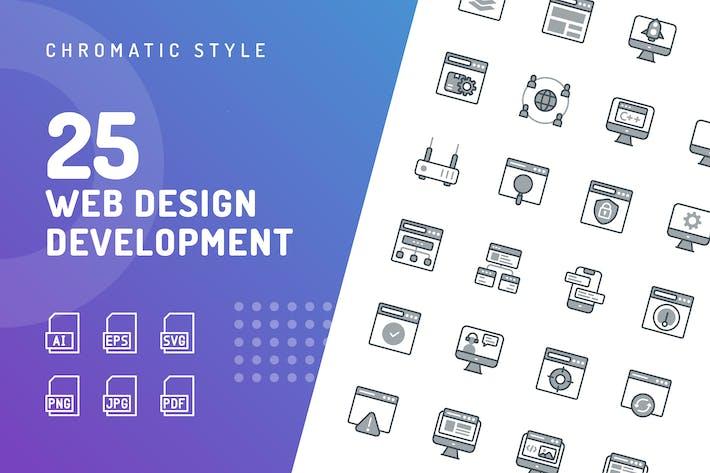 Thumbnail for Web Design Development Chromatic Icons