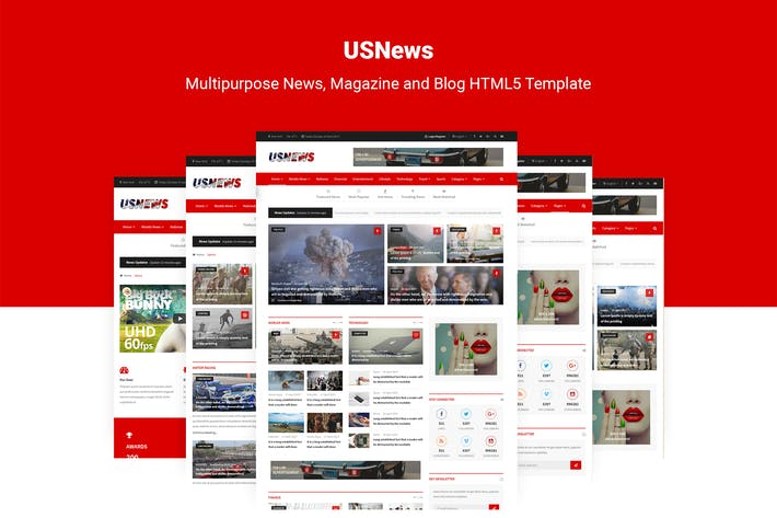 Cover Image For USNews | News, Magazine and Blog HTML5 Template