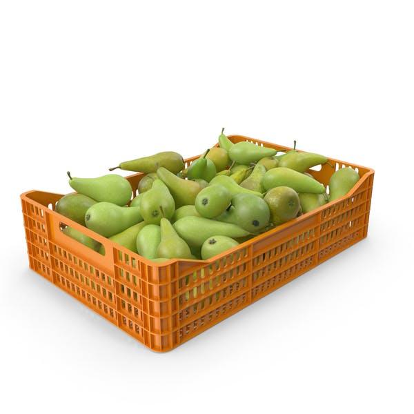 Пластиковый ящик с грушами