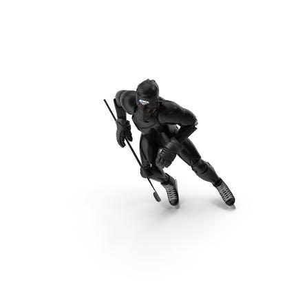 Humanoid Hockey Player With Stick Pose Black