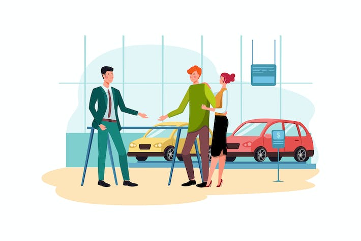 Thumbnail for Salesman talking to a young couple at the showroom