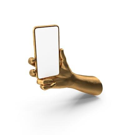 Mockup dorado mano sosteniendo una maqueta de teléfono inteligente dorado