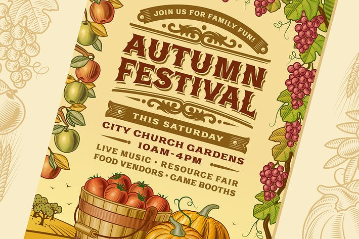 Thumbnail for Vintage Autumn Festival Poster