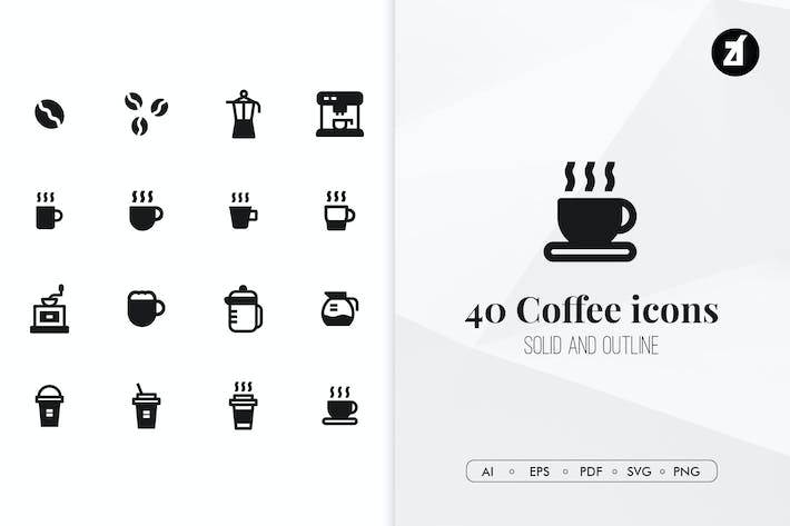 Thumbnail for 40 Kaffee minimale Icons