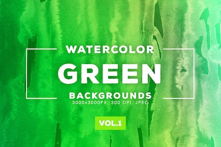 Green Watercolor Backgrounds Vol.1