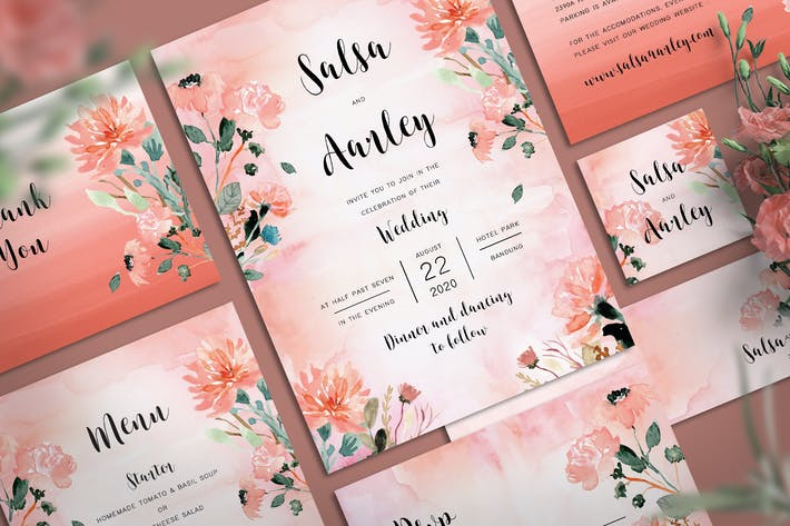 Thumbnail for Peach Flower Wedding Invitation Set