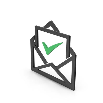 Symbol Envelope With Check Mark Green