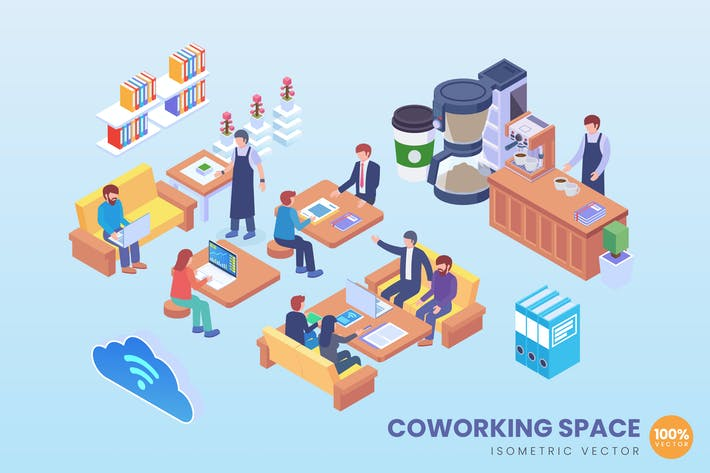 Thumbnail for Isometric Business Coworking Space Vector Concept