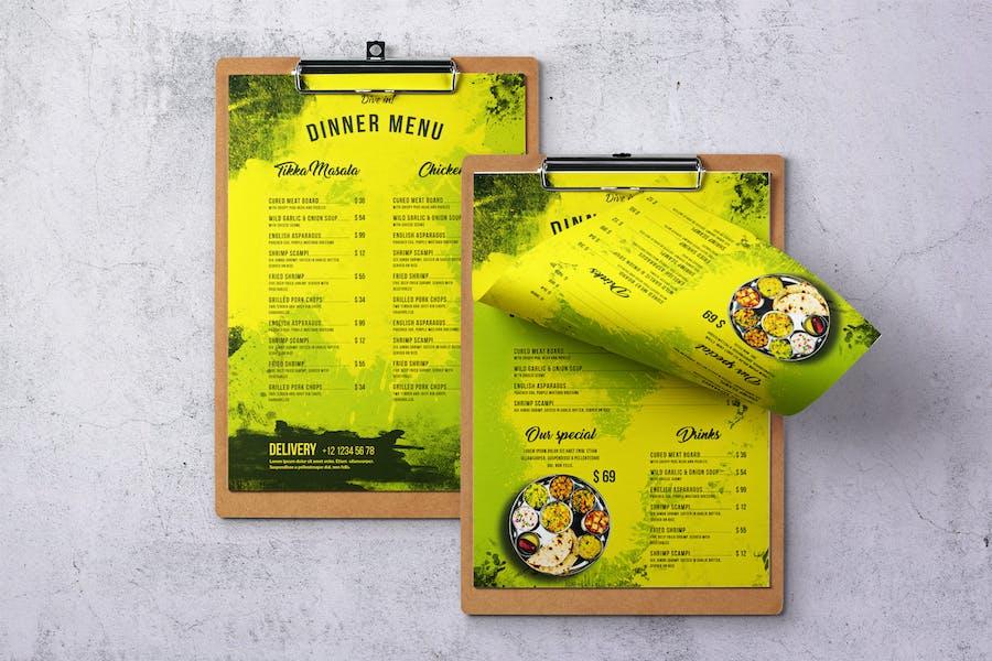 Indian Cuisine Single Page A4 & US Letter Menu