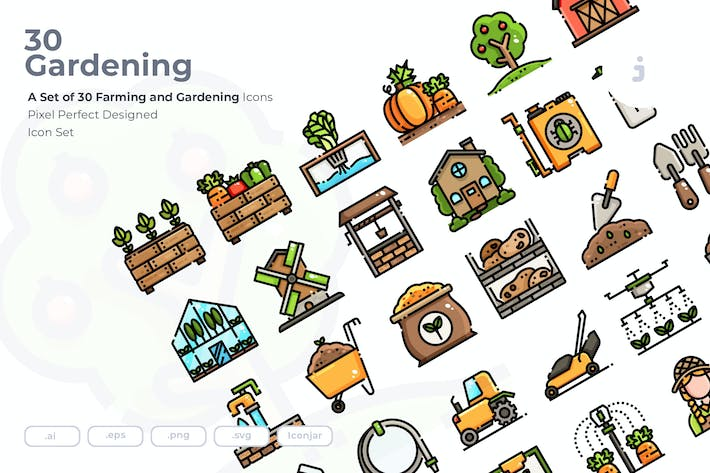 Thumbnail for 30 Farming and Gardening Icons