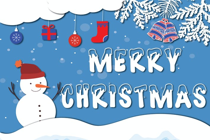 Thumbnail for Merry Christmas - Vector Paper Cut Illustration