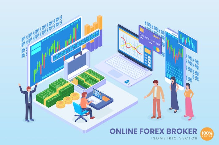 Thumbnail for Isometric Online Forex Broker Vector Concept