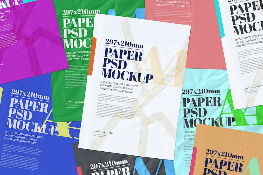 A4 Flyer Poster Mockup Adhesive Duct Tape Strip
