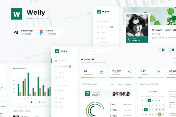 Thumbnail for Welly - Hospital Admin Dashboard UI Template