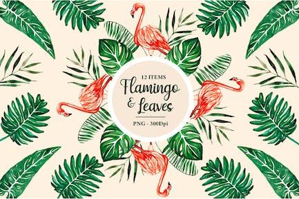 Flamingo Tropische Blätter