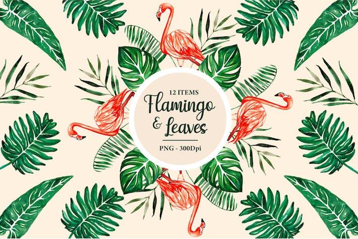 Thumbnail for Flamingo Tropische Blätter