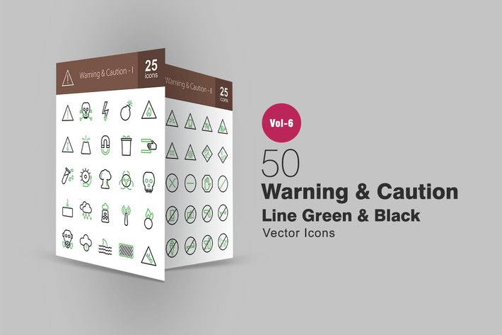 Thumbnail for 50 Warning & Caution Green & Black Line Icons