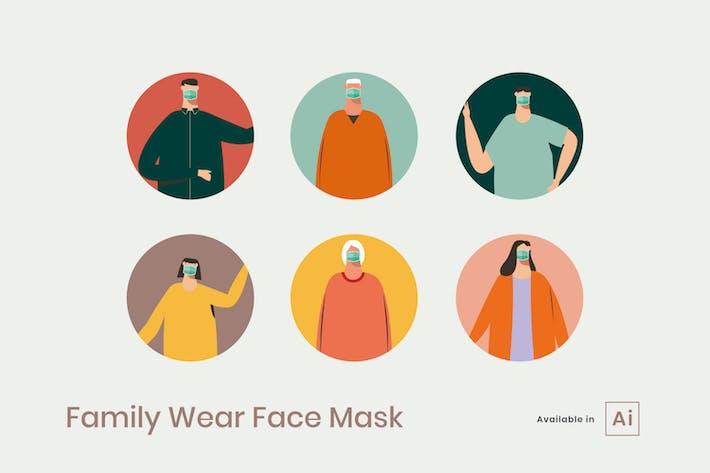 Thumbnail for Family Wear Face Mask Illustration