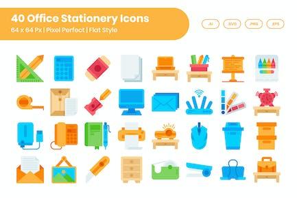 40 Büromaterial Icons Set - Flach