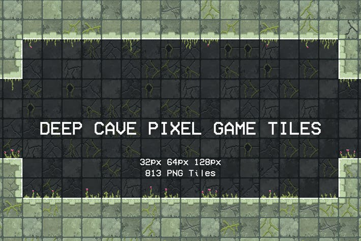 Deep Cave Pixel Game Tiles