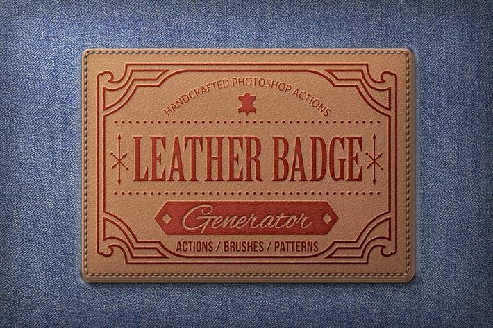 Thumbnail for Leather Badge Generator - Photoshop Actions