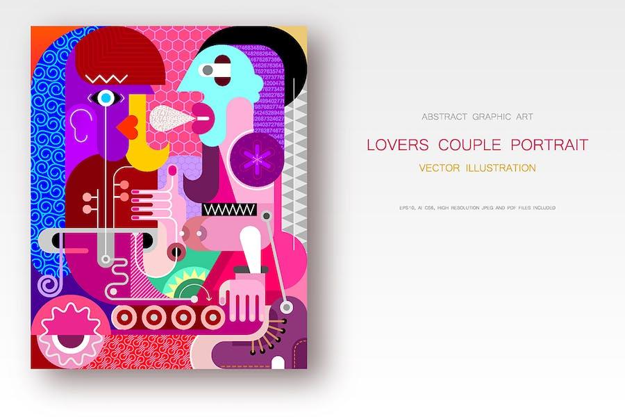 Lovers Couple Portrait vector illustration