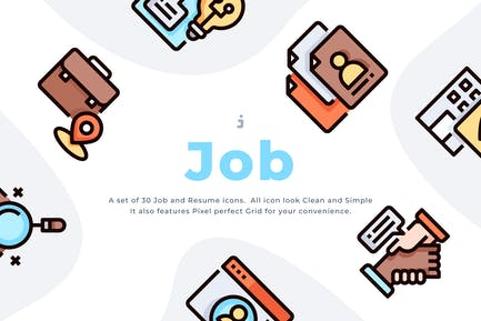 30 Job- und Lebenslauf-Symbol-Set