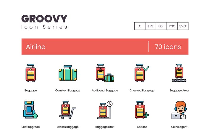 Thumbnail for 70 Airline Icons - Groovy Series