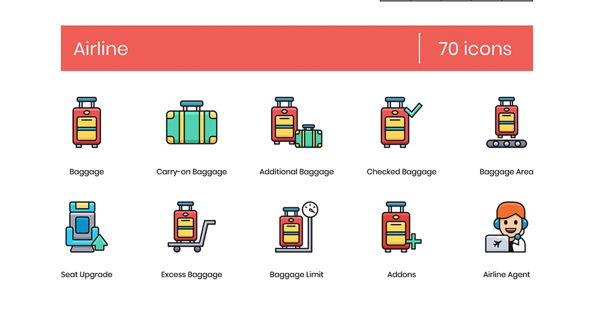 Download 70 Airline Icons - Groovy Series by Krafted