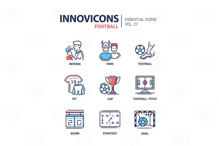 Thumbnail for Football - modern color vector single line icons