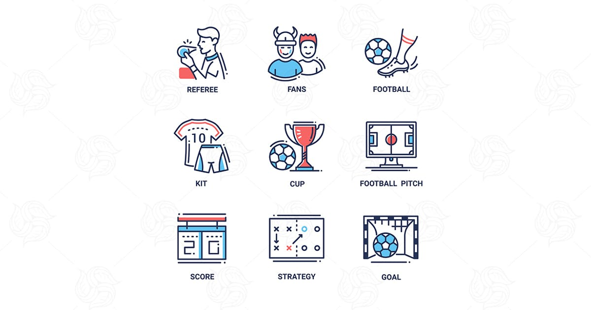 Download Football - modern color vector single line icons by BoykoPictures