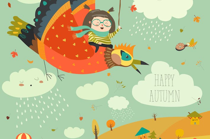 Thumbnail for Little girl flying in the sky with funny birds.