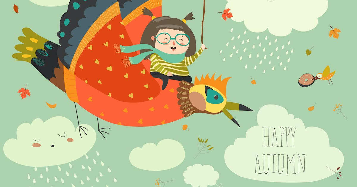 Download Little girl flying in the sky with funny birds. by masastarus