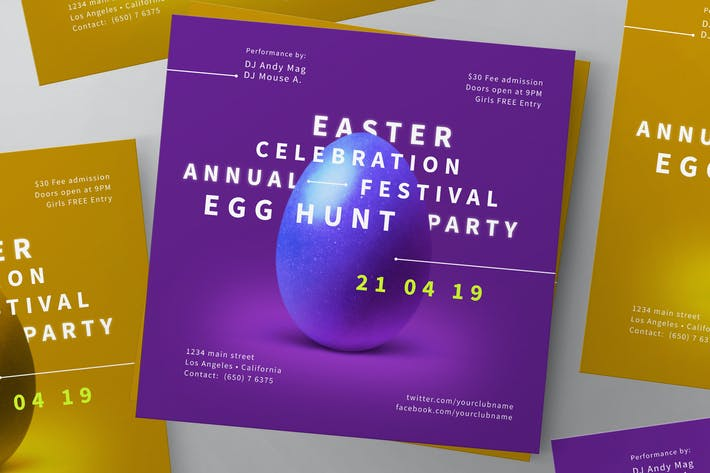 Thumbnail for Easter 2019 Flyer Template + Social Media