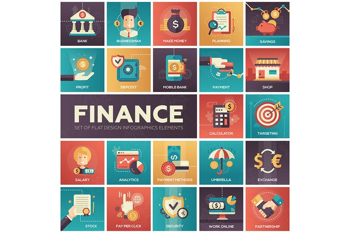 Thumbnail for Finance - modern flat design style icons