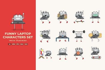 Lustiges Laptop-Charakter-Set