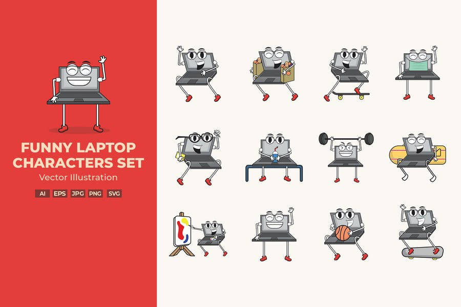 Funny Laptop Characters Set